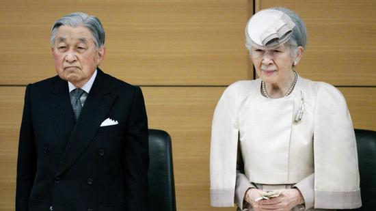 Japan's Emperor Akihito and Empress Michiko attend the awarding ceremony of the Midori Academic Prize Friday, April 26, 2019, in Tokyo. /Reuters Photo