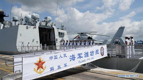 Chinese missile frigate Weifang is seen at the port of Mombasa, Kenya, Dec. 8, 2019. The missile frigate Weifang from the 33rd escort fleet of the Chinese People's Liberation Army (PLA) Navy arrived at the port of Mombasa, Kenya for technical docking Sunday morning. (Xinhua/Li Yan)