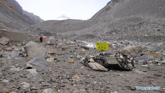 Photo taken on May 19, 2020 shows a rubbish station set on the north slope of the Mount Qomolangma. At an altitude of 5,800 meters, the transition camp is an important stop connecting the base camp and the advance camp. (Xinhua/Jigme Dorje)