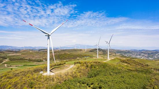 Aerial photo taken on April 27, 2020 shows wind power installations in Weining County, southwest China's Guizhou Province. (Xinhua/Tao Liang)