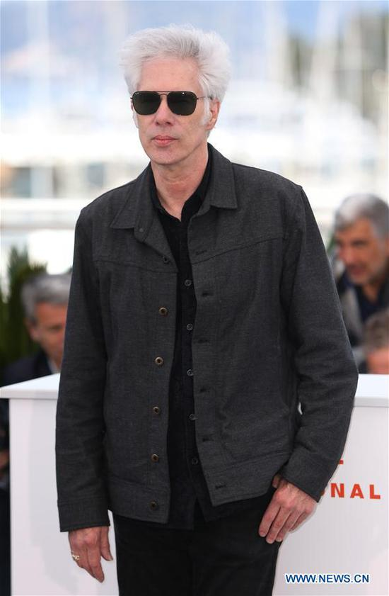 Director Jim Jarmusch poses for photos during the 72nd Cannes Film Festival in Cannes, France, May 15, 2019. The 72nd Cannes Film Festival is held here from May 14 to 25. (Xinhua/Gao Jing)