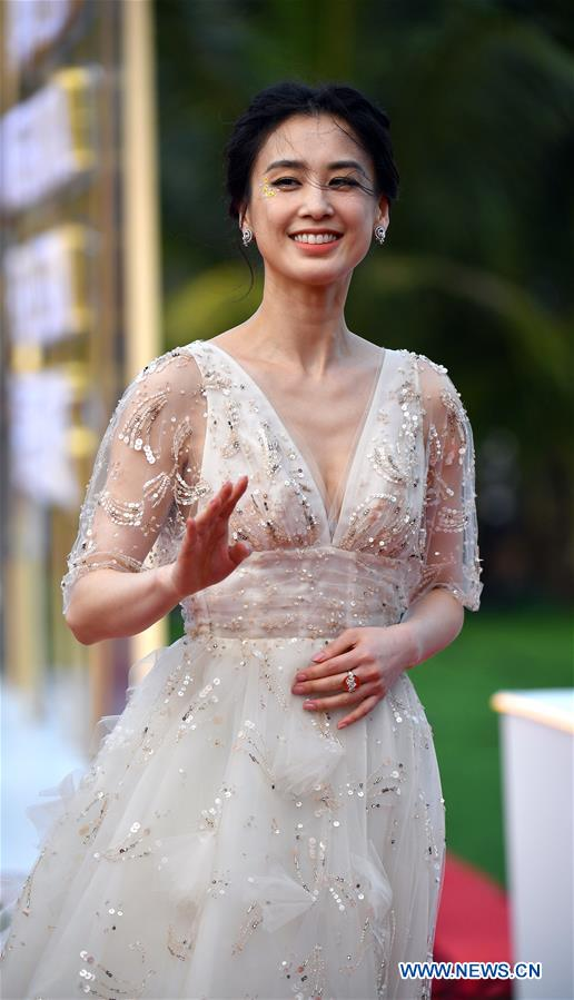 Actress Huang Shengyi makes her red carpet appearance during the opening ceremony of the 2nd Hainan International Film Festival in Sanya, south China's Hainan Province, Dec. 1, 2019. The 2nd Hainan International Film Festival kicked off in Sanya on Sunday. (Xinhua/Guo Cheng)