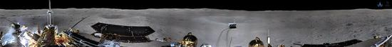 The China National Space Administration on Jan. 11, 2019 releases the 360-degree panoramic photos taken by a camera installed on China's Chang'e-4 lunar probe (cylindrical projection). China's Chang'e-4 probe took panoramic photos on the lunar surface after it successfully made the first ever soft-landing on the far side of the moon. (Xinhua/China National Space Administration)