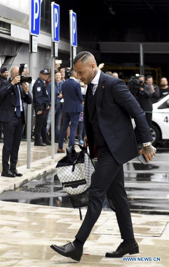 Portugal's national football team player Ricardo Quaresma arrives at airport before departing to Russia for the FIFA World Cup 2018 in Lisbon, Portugal, June 9, 2018. (Xinhua/Zhang Liyun)