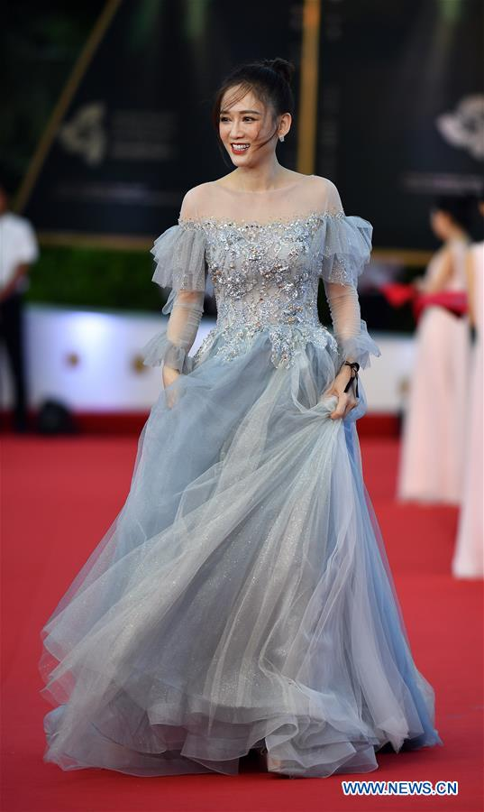 Actress Joe Chen makes her red carpet appearance during the opening ceremony of the 2nd Hainan International Film Festival in Sanya, south China's Hainan Province, Dec. 1, 2019. The 2nd Hainan International Film Festival kicked off in Sanya on Sunday. (Xinhua/Guo Cheng)