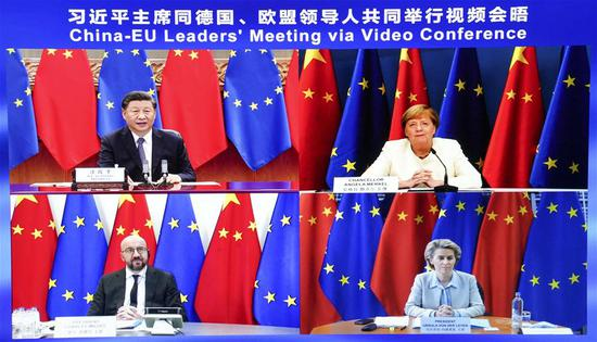 Chinese President Xi Jinping co-hosts a China-Germany-EU leaders' meeting in Beijing, capital of China, Sept. 14, 2020, via video link with German Chancellor Angela Merkel, whose country currently holds the EU's rotating presidency, European Council President Charles Michel and European Commission President Ursula von der Leyen. (Xinhua/Pang Xinglei)