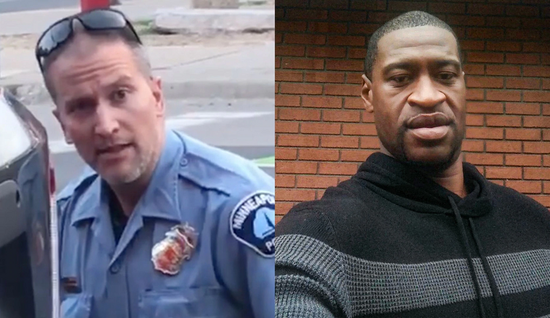 "Combo photo shows police officer Derek Chauvin (L) and George Floyd. Chauvin knelt on Floyd's neck for almost nine minutes on May 25, 2020, in Minneapolis, Minnesota, while the latter one kept saying ""I can't breathe."" Floyd later died in police custody. (Xinhua)"
