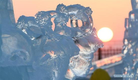 Photo taken on Jan. 3, 2019 shows a part of an ice sculpture during an international ice sculpture competition in Harbin, capital of northeast China's Heilongjiang Province. (Xinhua/Wang Song)