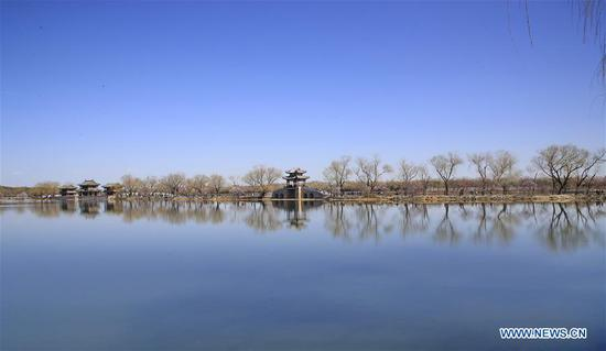 Photo taken on March 13, 2019 shows the view of the Kunming Lake in the Summer Palace in Beijing, capital of China. (Xinhua/Liu Xianguo)