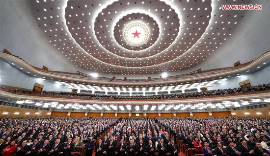 The second session of the 13th National People's Congress (NPC) holds its closing meeting at the Great Hall of the People in Beijing, capital of China, March 15, 2019. (Xinhua/Huang Jingwen)