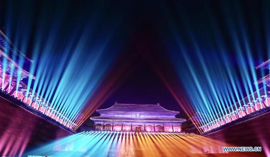 Photo taken on Feb. 19, 2019 shows the night scenery at Wumen Gate of the Palace Museum in Beijing, capital of China. (Xinhua/Chen Jianli)