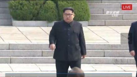 Kim crossed the border on foot, becoming the first North Korean leader to have stepped on South Korean soil