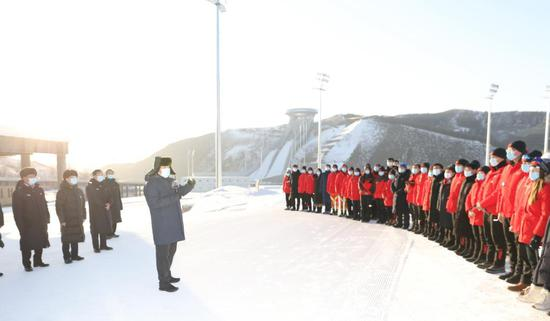 President Xi Jinping speaks to athletes, coaches and staff members at the Zhangjiakou competition zone of the Beijing 2022 Olympic and Paralympic Winter Games while visiting the National Biathlon Center in north China's Hebei Province, Jan. 19, 2021. (Xinhua/Wang Ye)