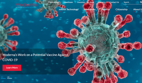 A screenshot taken on May 18, 2020, from the website of the U.S. biotech company Moderna shows a design illustrating its work on a potential vaccine against the COVID-19. (Xinhua)
