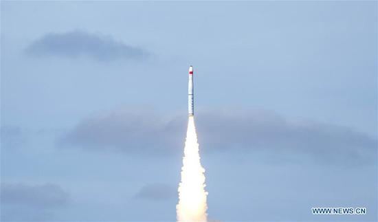Nine satellites, belonging to the Jilin-1 Gaofen 03-1 group, are launched by a Long March-11 carrier rocket at the Yellow Sea, on Sept. 15, 2020. China successfully sent nine satellites into planned orbit at the Yellow Sea Tuesday. The nine satellites blasted off atop a Long March-11 carrier rocket, China's first sea-launched rocket, at 9:23 a.m. (Beijing Time). (Xinhua/Cai Yang)