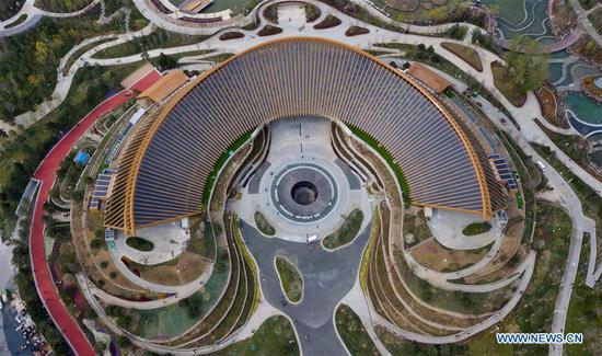 Aerial photo taken on April 19, 2019 shows the China Pavilion of the 2019 Beijing International Horticultural Exhibition (Expo 2019 Beijing) in Yanqing District of Beijing, capital of China. The 2019 Beijing International Horticultural Exhibition is slated to kick off on April 29, 2019. (Xinhua/Hou Dongtao)