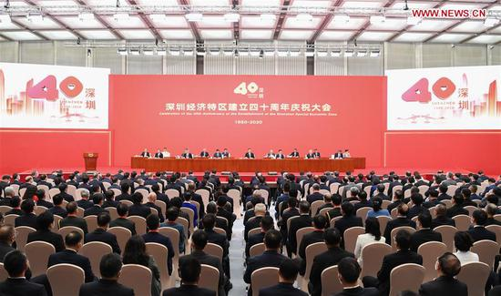 A grand gathering is held to celebrate the 40th anniversary of the establishment of the Shenzhen Special Economic Zone in Shenzhen, south China's Guangdong Province, Oct. 14, 2020. Chinese President Xi Jinping, also general secretary of the Communist Party of China Central Committee and chairman of the Central Military Commission, attended the gathering and delivered an important speech. (Xinhua/Zhang Ling)