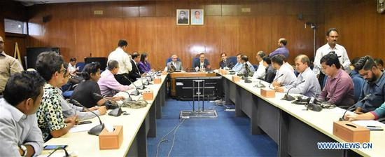 Photo shows an ADB-Bangladesh loan agreement signing ceremony in Dhaka, Bangladesh on Sept. 10, 2018. The Asian Development Bank (ADB) and the government of Bangladesh Monday signed agreements for 350 million U.S. dollars in loan and 7.5 million U.S. dollars in grant for a project to develop two power lines in support of Bangladesh's national target of electricity for all by 2021. (Xinhua)