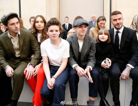 Picture shows the Beckham family at Victoria's show during London Fashion Week Women's A/W19 in London, Britain February 17, 2019.
