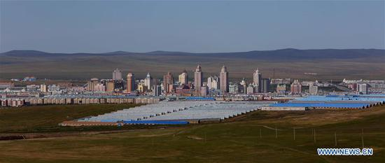 Photo taken on Sept. 5, 2018 shows a part of Manzhouli city of north China's Inner Mongolia Autonomous Region. Manzhouli, a border city with Russia, is benefiting from import and export trade between the two countries and witnessed a rapid economic and social development since China opened up to the world 40 years ago. (Xinhua/Gao Jing)