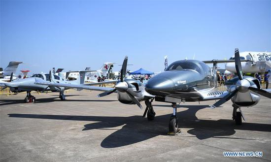 Photo taken on Nov. 6, 2018 shows civil aircrafts displayed during the 12th China International Aviation and Aerospace Exhibition (Airshow China) in Zhuhai, south China's Guangdong Province. Opening Tuesday in Zhuhai, the airshow runs until Nov. 11 and is attended by over 700 exhibitors from 40 countries and regions. (Xinhua/Deng Hua)