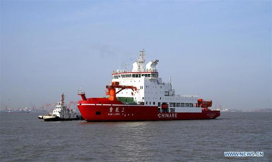 China's first domestically built polar icebreaker