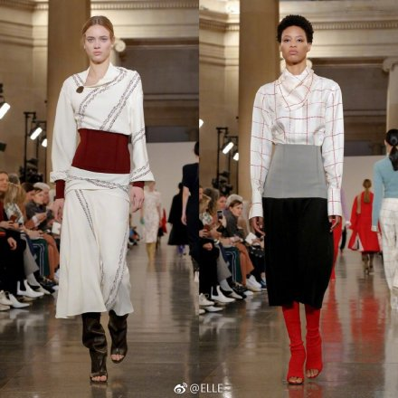 Models present creations at the Victoria Beckham show during London Fashion Week Women's A/W19 in London, Britain February 17, 2019.