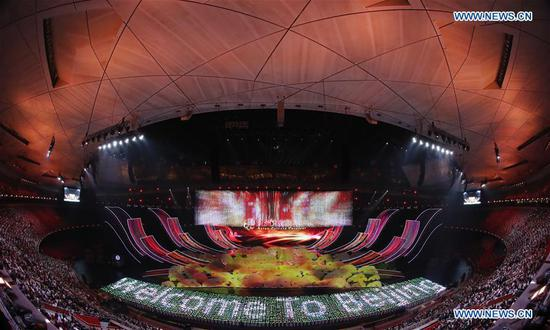 An Asian culture carnival is held during the Conference on Dialogue of Asian Civilizations (CDAC) at the National Stadium, or the Bird's Nest, in Beijing, capital of China, May 15, 2019. (Xinhua/Shen Bohan)