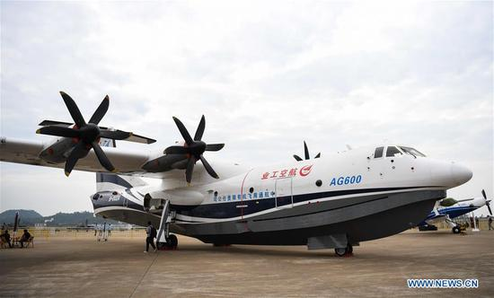 Photo taken on Nov. 5, 2018 shows AG600, China's independently-developed large amphibious aircraft, at the exhibition area of the upcoming China International Aviation and Aerospace Exhibition in Zhuhai, south China's Guangdong Province. The exhibition is scheduled to be held on Nov. 6-11. (Xinhua/Deng Hua)