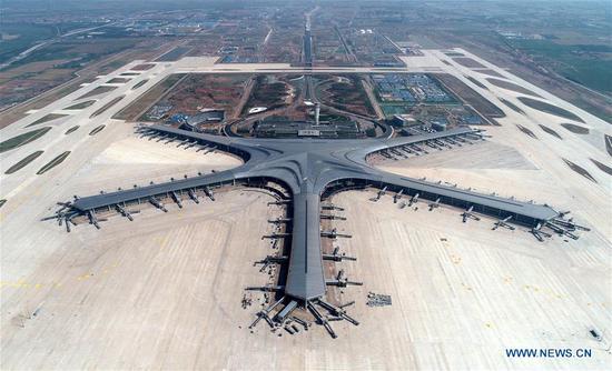 Aerial photo taken on June 12, 2019 shows the Qingdao Jiaodong International Airport under construction in Qingdao, east China's Shandong Province. (Xinhua/Li Ziheng)