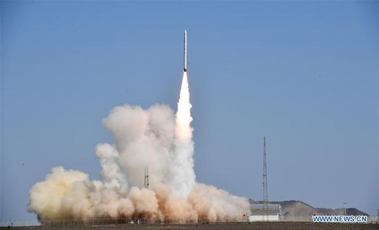 China's new carrier rocket Smart Dragon-1 blasts off from the Jiuquan Satellite Launch Center in northwest China, Aug. 17, 2019. China's new carrier rocket Smart Dragon-1 (SD-1), designed for commercial use, made its maiden flight on Sunday, sending three satellites into planned orbit. The rocket, developed by the China Rocket Co. Ltd. affiliated to the China Academy of Launch Vehicle Technology (CALVT), blasted off from the Jiuquan Satellite Launch Center in northwest China at 12:11 p.m. (Beijing Time). (Photo by Wang Jiangbo/Xinhua)