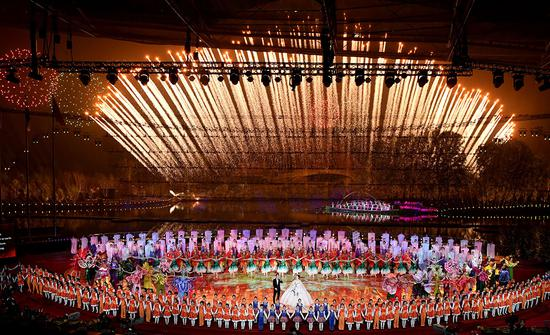 Photo taken on April 28, 2019 shows fireworks at the opening ceremony of the International Horticultural Exhibition 2019 Beijing in Yanqing District of Beijing, capital of China. (Xinhua/Shen Hong)