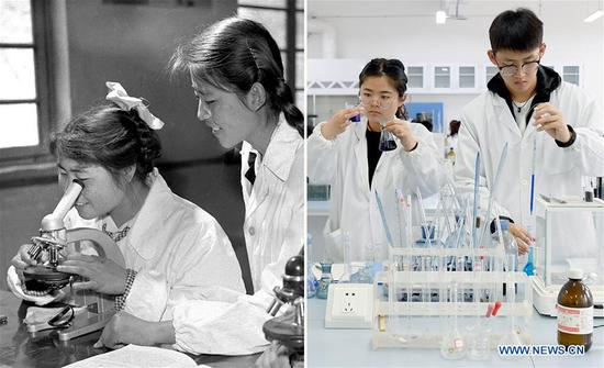 Combo photo shows young teacher Wang Shuzhen (R) guiding her student conduct an experiment at Yan'an University in Yan'an, northwest China's Shaanxi Province on July 19, 1961 (L, file photo) and students performing experiments at Yan'an University in Yan'an on May 6, 2019 (R, taken by Liu Xiao). Yan'an, a former revolutionary base of the Communist Party of China (CPC), is no longer labeled