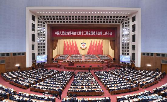The third plenary meeting of the second session of the 13th National Committee of the Chinese People's Political Consultative Conference (CPPCC) is held at the Great Hall of the People in Beijing, capital of China, March 10, 2019. (Xinhua/Shen Hong)