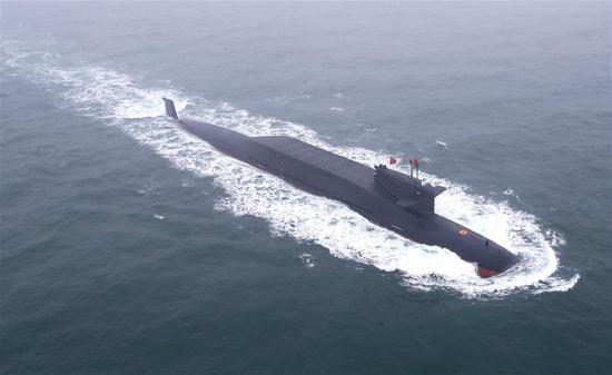 Aerial photo taken on April 23, 2019 shows a new type of nuclear submarine of the Chinese People's Liberation Army (PLA) Navy on the sea off Qingdao, east China's Shandong Province. (Xinhua/Ju Zhenhua)