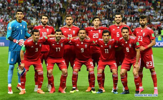 Players of Spain pose for a group photo prior to a Group B match between Spain and Iran at the 2018 FIFA World Cup in Kazan, Russia, June 20, 2018. (Xinhua/Liu Dawei)
