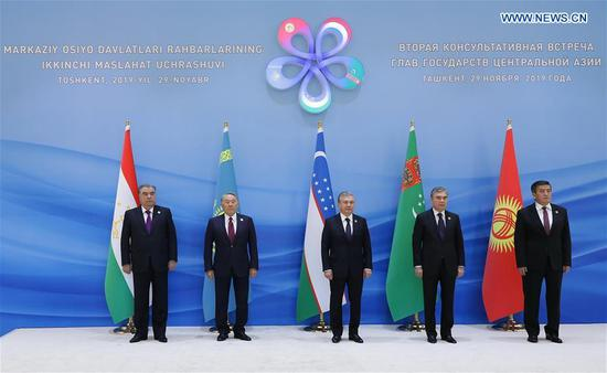Leaders of Tajikistan, Kazakhstan, Uzbekistan, Turkmenistan and Kyrgyzstan (from L to R) pose for a group photograph before the second consultative meeting of the heads of state of the Central Asian countries in Tashkent, capital of Uzbekistan, on Nov. 29, 2019. Leaders of the five Central Asian states on Friday agreed to enhance cooperation in areas of trade, industry, energy and transportation, Uzbek president's press service said. (Photo by Zafar Khalilov/Xinhua)