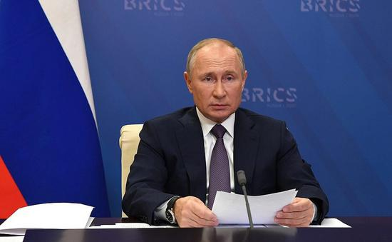Russian President Vladimir Putin speaks during the 12th BRICS summit via video conference on Nov. 17, 2020. (Kremlin photo)