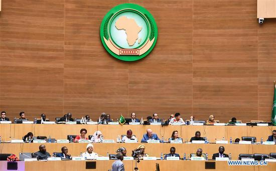 Representatives attend the closing ceremony of the 32nd African Union (AU) summit of heads of state and government in Addis Ababa, capital of Ethiopia, on Feb. 11, 2019. Egyptian President Abdel-Fattah al-Sisi on Monday wrapped up the 32nd African Union (AU) summit of heads of state and government at the AU headquarters in Ethiopia's capital, Addis Ababa, with a pledge to work for the welfare of African people. (Xinhua/Li Yan)