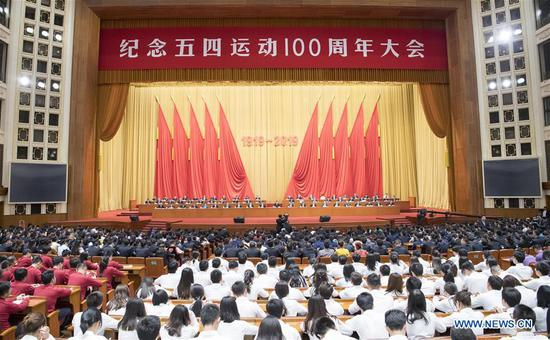 A gathering marking the centenary of the May Fourth Movement is held at the Great Hall of the People in Beijing, capital of China, April 30, 2019. (Xinhua/Gao Jie)