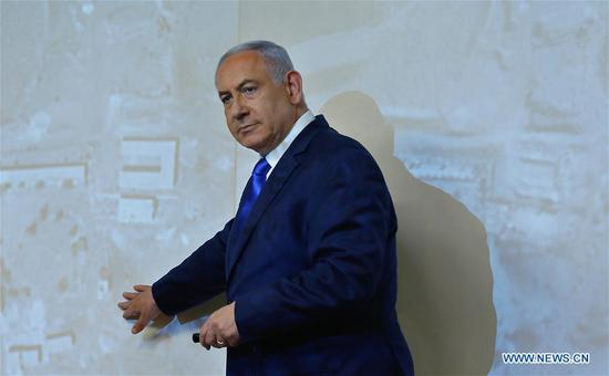 Israeli Prime Minister Benjamin Netanyahu delivers a statement on Iran's nuclear weapons development site in Jerusalem, on Sept. 9, 2019. Israeli Prime Minister Benjamin Netanyahu said on Monday that Israel has exposed a nuclear weapons development site in Iran, calling for world leaders to increase the pressure on Iran. (Photo by Gil Cohen Magen/Xinhua)
