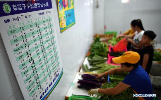 Price of vegetables is seen at a market in Haikou, capital of south China's Hainan Province, July 11, 2018. More vegetables are supplied by Haikou Shopping Basket Industry Group Company to stabilize the price of vegetables, as Haikou entered off-season vegetable production since May. (Xinhua/Guo Cheng)