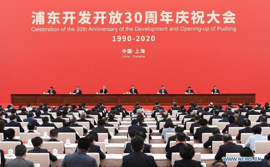 Chinese President Xi Jinping, also general secretary of the Communist Party of China Central Committee and chairman of the Central Military Commission, delivers an important speech while attending a grand gathering that celebrates the 30th anniversary of the development and opening-up of Shanghai's Pudong in Shanghai, east China, Nov. 12, 2020. (Xinhua/Zhai Jianlan)