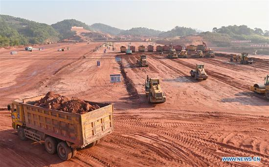 Photo taken on April 12, 2019 show the construction site of the Pu'er railway station of the China-Laos railway in Pu'er City, southwest China's Yunnan Province,. Linking Yuxi City in Yunnan and the Lao capital Vientiane, the China-Laos railway is expected to be fully operational by the end of 2021. (Xinhua/Qin Qing)