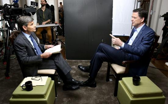 Comey speaks during an exclusive interview with ABC News' George Stephanopoulos