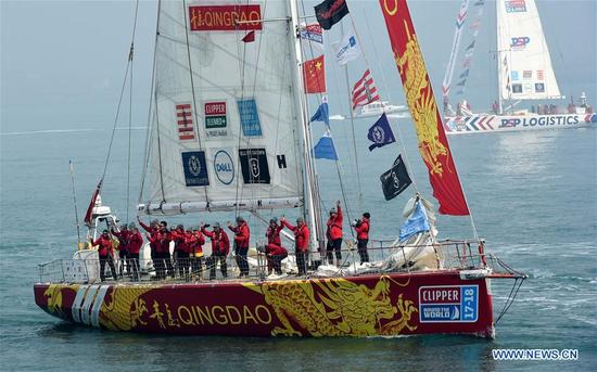 Crew members of Qingdao leave for Seattle, the United States, embarking Race 9 of the 2017-18 the Clipper Round the World Yacht Race, in Qingdao, east China's Shandong Province, March 23, 2018. Home to Tsingtao Beer and home appliance giant Haier, Qingdao is becoming a more attractive place to run important multilateral events. In June, the coastal city will host the 18th summit of the Shanghai Cooperation Organization (SCO). (Xinhua/Li Ziheng)