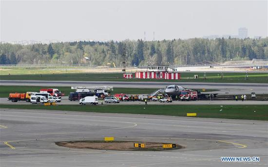 Burnt fuselage of an Aeroflot SSJ-100 passenger plane is seen on the tarmac at Sheremetyevo International Airport in Moscow, Russia, on May 6, 2019. Russia's Investigative Committee confirmed Monday that 41 people were killed after an SSJ-100 passenger plane en route to the northwestern Russian city of Murmansk caught fire before an emergency landing Sunday at the Sheremetyevo International Airport in Moscow. (Xinhua/Sputnik)