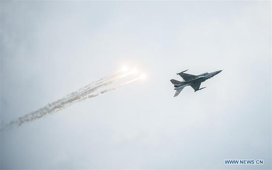 An aircraft performs at the 2018 Slovak International Air Fest (SIAF) in Sliac, central Slovakia, Sept. 2, 2018. The 2018 Slovak International Air Fest (SIAF) kicked off at Sliac airport on Saturday. (Xinhua/TASR/Dusan Hein)