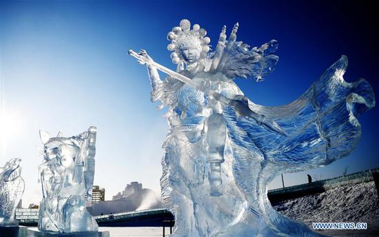 Photo taken on Jan. 8, 2019 shows an ice sculpture made by a team from China at the 33rd Harbin international ice sculpture contest in Harbin, northeast China's Heilongjiang Province. The contest concluded on Tuesday. (Xinhua/Wang Jianwei)