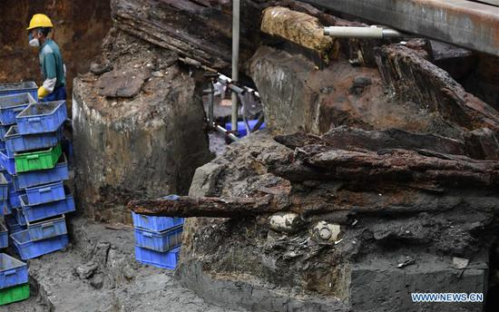 Photo taken on May 12, 2020 shows the archaeological site of the wreckage of Nanhai No. 1 in Yangjiang, south China's Guangdong Province. The excavation of the Nanhai No. 1, a shipwreck dating back to the Song Dynasty (960 A.D.-1279 A.D.), was listed by China in its top 10 archaeological discoveries for 2019. More than 180,000 relics including porcelain products, gold, silver, copper and iron relics and coins have been found from this ancient merchant ship. (Xinhua/Deng Hua)